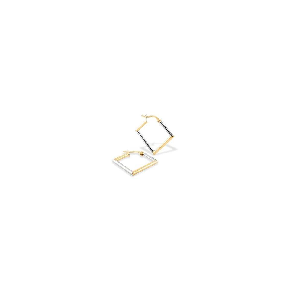14k White Yellow Gold Diamond Shaped Hoop Post Earrings