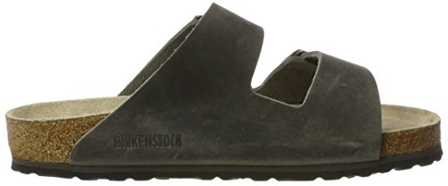 Birkenstock Arizona Leder Softfootbed - Mules Unisex adulto Schwarz (Artic Old Iron)