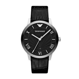 Emporio Armani Men's Quartz Stainless Steel and Leather Watch, Color:Black (Model: AR1611)