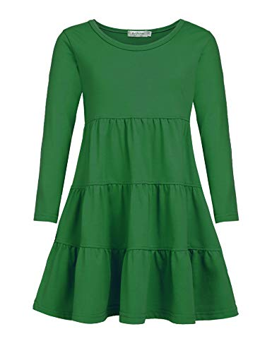 Arshiner Girls' Super Soft Cotton Long Sleeve Tiered Dress, Green, 130 (6-7 Years)