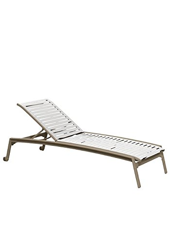 Tropitone by Casual Living Elance EZ Span Ribbon Segment Armless Chaise Lounge with Wheels, Snow, Moab (Moab Wheels)