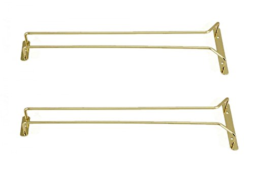 Great Credentials Set of 2-16-Inch Long, Wine Glass Rack, Wire Hanging Rack, Wine Glass Hanging Rack, Wire Wine Glass Hanger Rack, Stemware Rack, Under Cabinet, Brass Finish ()
