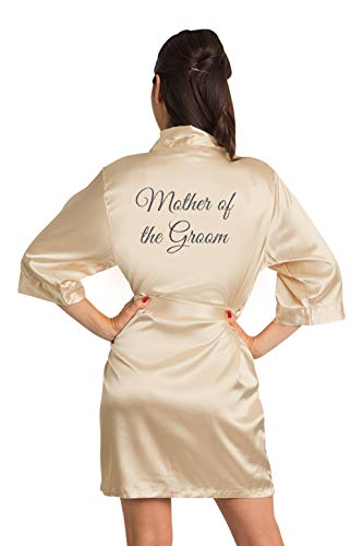 - Zynotti Women's Gunmetal Glitter Mother of The Groom Bridal Party Getting Ready Wedding Kimono Champagne Gold Satin Robe - 1X/2X