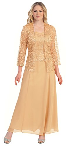 Womens Long Mother of The Bride Plus Size Formal Lace Dress with Jacket (2X, Gold) ()