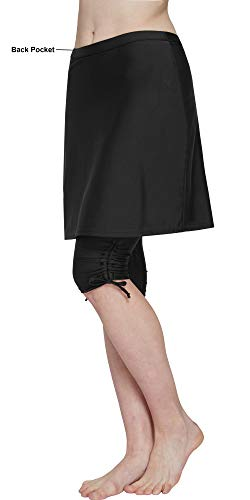 HonourSex Women Swim Skirted Leggings UPF50+ High Waist Swimsuits Skorts Bottoms, Surfing Beach Athletic Capri Skirts Black