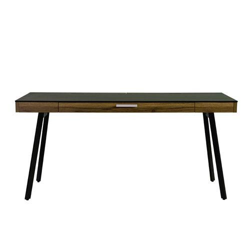 Eurostyle Hart Desk in Black with Walnut Frame (Writing Desk Style Euro)