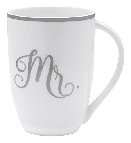 Mikasa Bone China Coffee Mug, 16-Ounce, Mr. White/Gray/Platinum