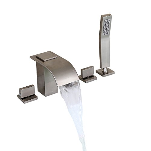 Lovedima Brushed Nickel Widespread Waterfall Roman Tub Filler Faucet with Handheld Shower (Brushed Nickel)