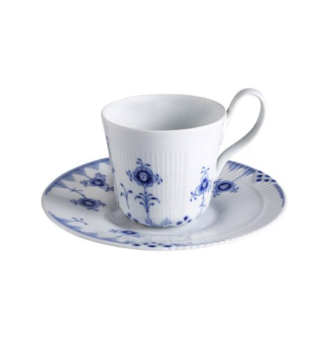 Blue Elements High Handle Cup and Saucer (Espresso Royal Blue Cup)