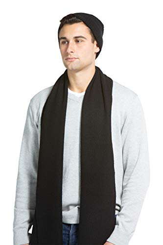 Scarf Ribbed Cashmere (Fishers Finery Men's 100% Cashmere Ribbed Knit Hat and Scarf Gift Set (Black))