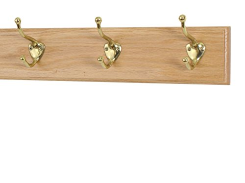(Solid Oak Coat Rack with Solid Brass Hat and Coat Style Hooks - Made in The USA (Natural, 15