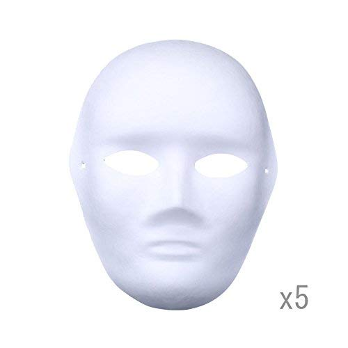 Meimasks DIY White Paper Mask Pulp Blank Hand Painted Mask Personality Creative Free Design Mask 5pcs (Men) ()