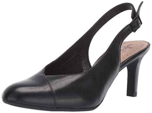 CLARKS Women's Dancer Mix Pump, Black Leather, 080 M US