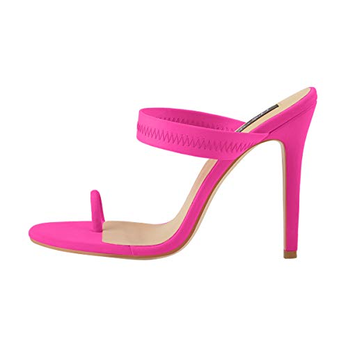 Onlymaker Women's High Heel Mules Toe Ring Block Stiletto Heeled Sandals Summer Shoes 2019 Rose Red Size 7