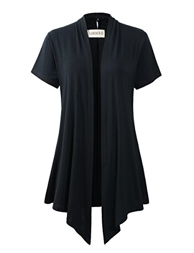 LARACE Women Cardigan Open Front Lighiweight Short Sleeve Drape Cardigans(1X, Black) by LARACE