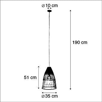 Bambou Bamboo Noir,Marron Rond E27 Max 1 x 40 Watt//Luminaire//Lumiere///Éclairage//int/érieur//Salon//Cuisine QAZQA Rustique Lampe suspendue nationale en bambou avec noir