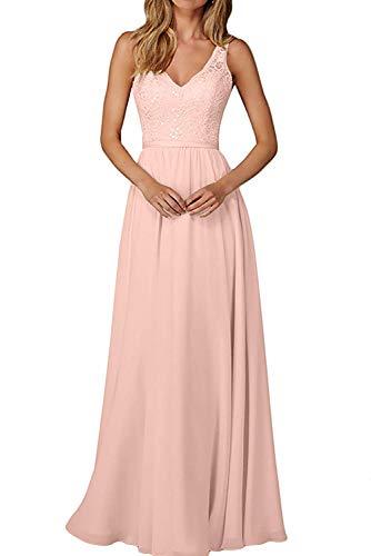 Chiffon Abendkleider Perlen Brautjungfernkleider Partykleider Lang Spitze Rosa Kleider Damen Champagner Charmant P07q4fH4