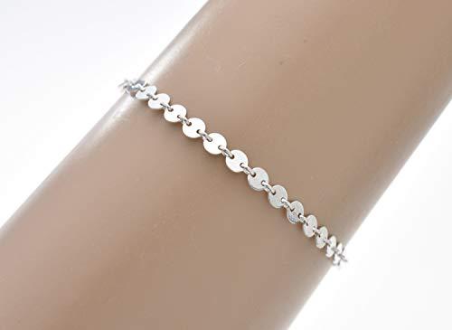 Sterling Silver Disk Chain Bracelet. Gift for Her. Dainty Bracelet