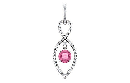 Jewels By Lux 14k White Gold Pink Sapphire & 3/8 CTW Diamond Pendant
