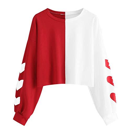 Drfoytg Women Long Sleeve Crop Top Love Heart Print Splice Sweatshirt Short ()