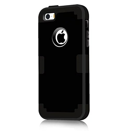 iPhone 5S Case, Phone SE Case, Asstar 3 in 1 Hard PC+ Soft TPU Impact Protection Heavy Duty Shockproof Full-Body Protective Case for Apple iPhone SE / iPhone 5 5S (Black) (Speck Iphone 5s Camo Case)