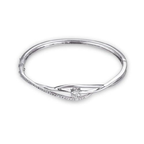 Fashion Plaza Top Quality Triple Chain Crossed Bracelet with Cubic Zirconia B201