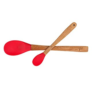 Core Kitchen Silicone Large 12 Inch Spoon And Mini 8.25 Inch Spoon, Bamboo Handles