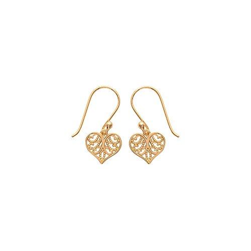Boucles d'Oreilles Pendantes en Plaqué Or - Coeur avec Arabesque - Bijoux Femme