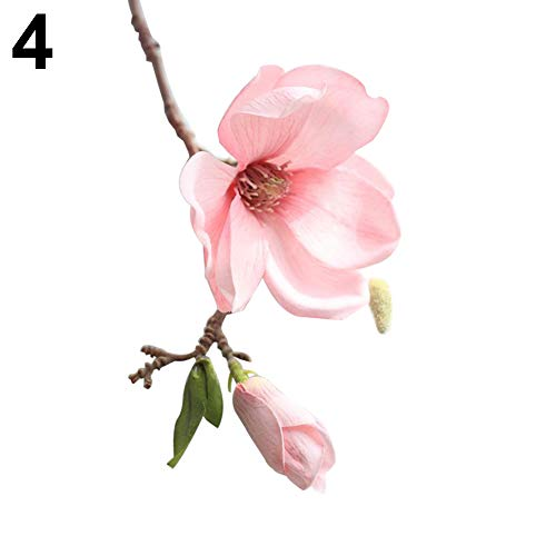 litymitzromq Artificial Flowers Fake Plants, 1 Head Artificial Magnolia Fake Flower Bud Bridal Wedding Home Cafe Store Decor Faux Fake Flowers Floral Arrangement
