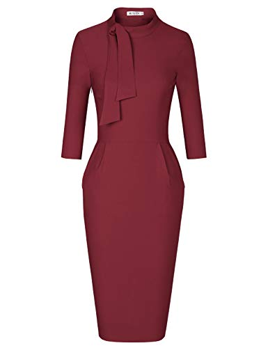 MUXXN Womens Classic 1950s Inspired Half Sleeves Sheath Ruched Evening Gown Dress (Merlot M) -