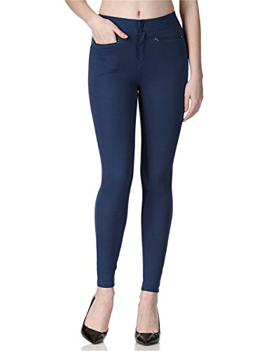 Regna X Boho for Womens French Terry Skinny Work Navy Medium Cotton Legging Jegging Jean Pants
