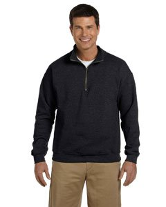 Gildan Mens Heavy Blend 8 Oz. Vintage Classic Quarter-Zip Cadet Collar Sweatshirt(G188)-Black-S (Cotton Blend Zip Sweatshirt)