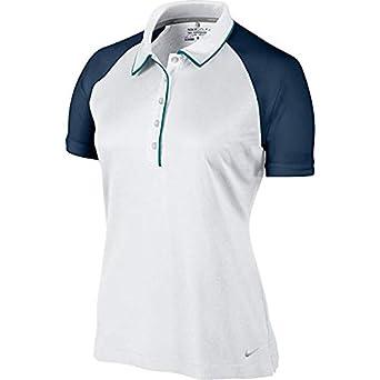 Polo de golf Dri-Fit de dos tonos para mujer novedad-Blanco / Azul ...