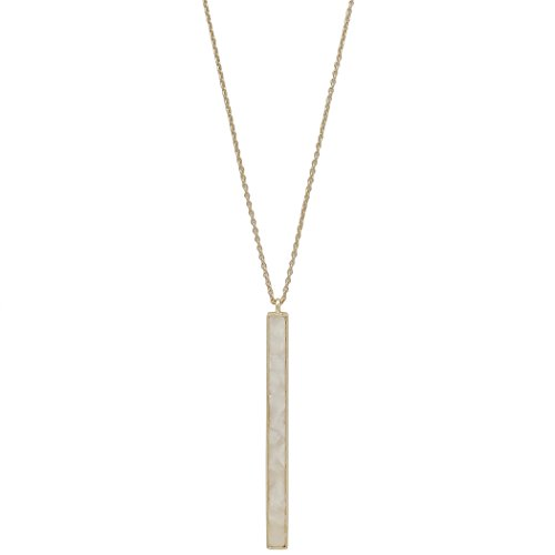 Rosemarie Collections Women's Geometric Bar Pendant Extra Long Necklace (Ivory) (Ivory Necklace Womens)