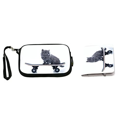 Rikki Knight Fluffy Cat on a Skateboard Design Neoprene Clutch Wristlet with Matching Passport Holder