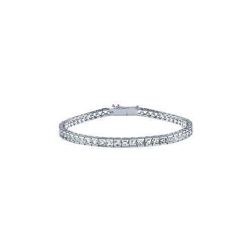Half Channel Set Diamond Tennis Bracelet in Platinum ()