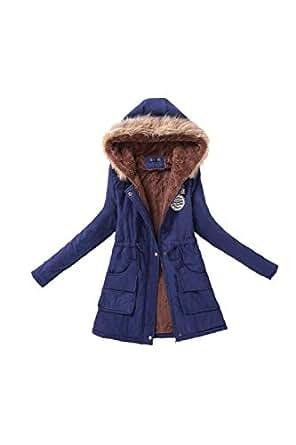 Parka cálida Casual chaqueta mujer con capucha de piel sintética Darkblue S