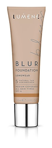 Lumene Longwear Blur Foundation SPF 15 for All Skin Types Medium Coverage with Arctic Cloudberry 30 ml 1.0 Fl.Oz. 5 Natural Tan
