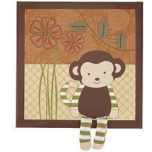 Jungle Applique (CoCaLo Baby Nali Jungle Applique Baby Boy Monkey Wall Decor Brown)