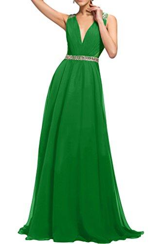 Spitze Chiffon Festkleid Grün Abendkleid Ivydressing Promkleid Applikation Schulter Damen Ein w4xntqg6T