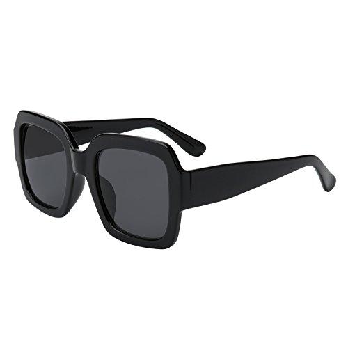 WOWSUN Retro Vintage Square Sunglasses for Women Fashion Big Black Shades UV400 - Trend Glasses Black Big