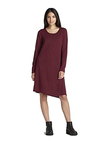 Eileen Fisher Merino Jersey Jewel Neck Dress Burgundy (Petite (Merino Jewel Neck)
