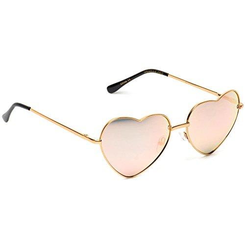 Dorado con forma de metal montura mujer reflectantes en cupido nbsp;de Gafas Pro de de WearMe Rosa corazón FRZAq