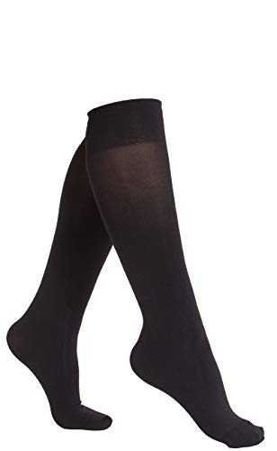 (6 Pair Women Opaque Microfiber Stretchy Knee High Trouser Socks-black)