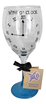 Pink 'Wine O Clock' Hand Painted 340ml Wine Glass by Memories-Like-These UK