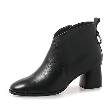 HAOLIEQUAN Botas De Mujer Botines Blacl Zapatos De Invierno Botas De Cuero Cálido PU Botas De Mujer Tamaño 34-42: Amazon.es: Deportes y aire libre