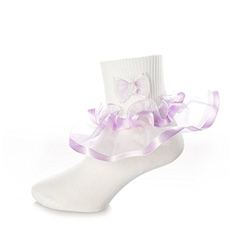 DressForLess Multi Color Girls Socks with Color Ruffled Organza Lace and Ribbon