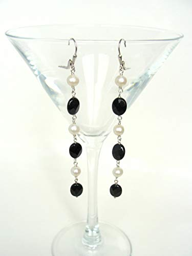 Long black and white earrings, genuine pearls black agate sterling silver, 3.75 inches, dramatic columns, Let Loose Jewelry, handmade