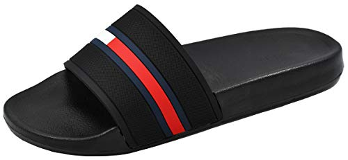 Tommy Hilfiger mens Slide,Black,8 M US