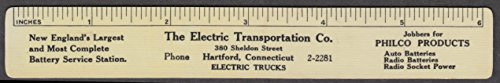 Electric Transportation Trucks & Batteries Hartford CT ruler calendar 1928